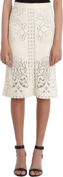 Sea Open Floral Knit Pencil Skirt - Lyst