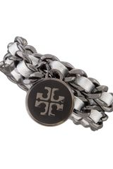 Tory Burch Metallic Leather Chain Bracelet Silver - Lyst