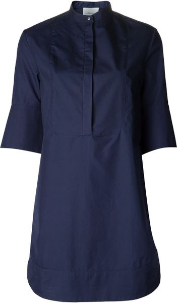 3 1 Phillip Lim Banded Collar Shirt Dress In Blue Lyst