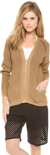 3.1 Phillip Lim Piped Zip Cardigan - Lyst