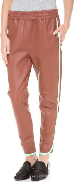 3.1 Phillip Lim Piped Leather Track Pants - Lyst