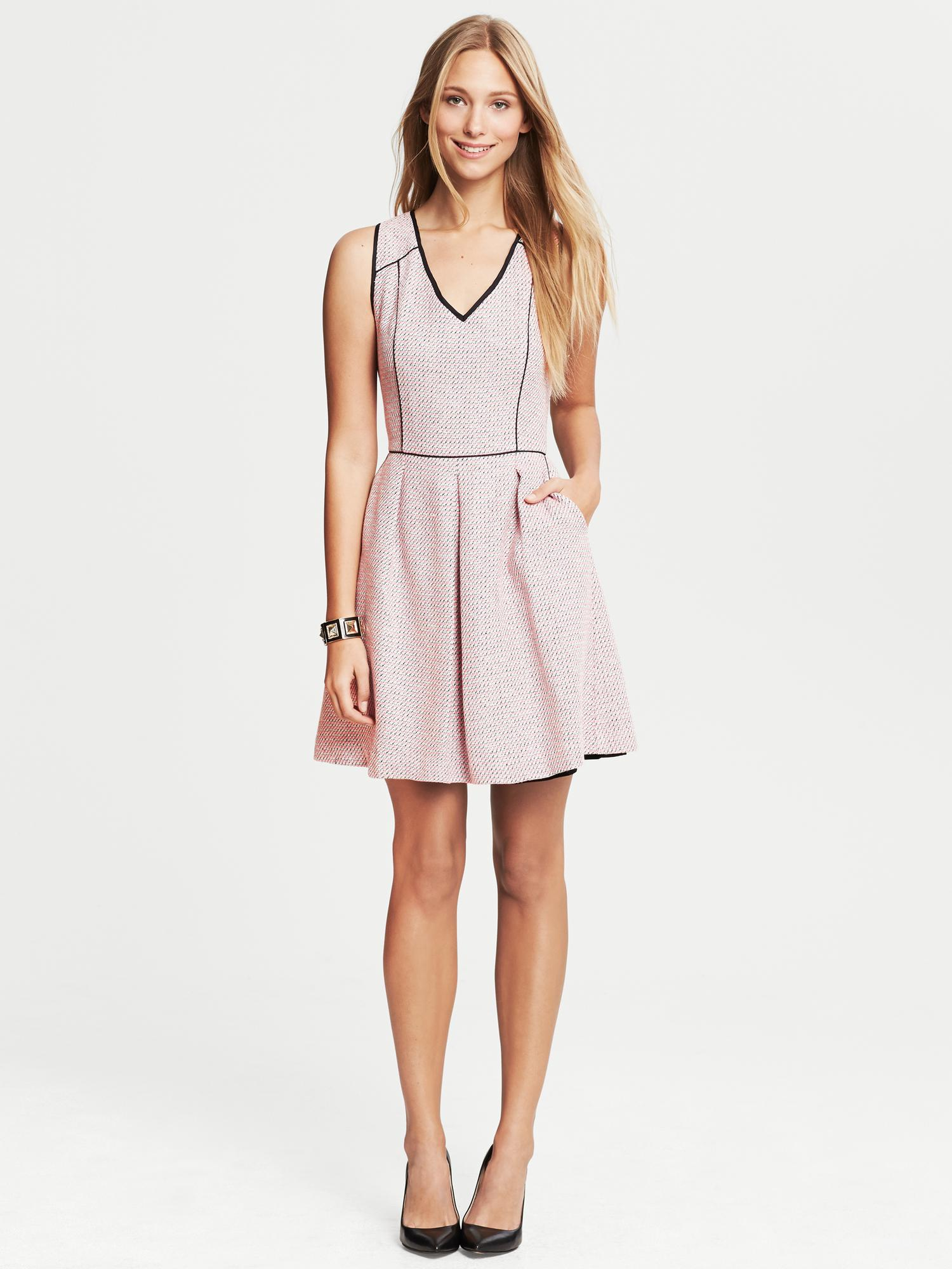 Banana Republic Piped Tweed Fit And Flare Dress Pink In