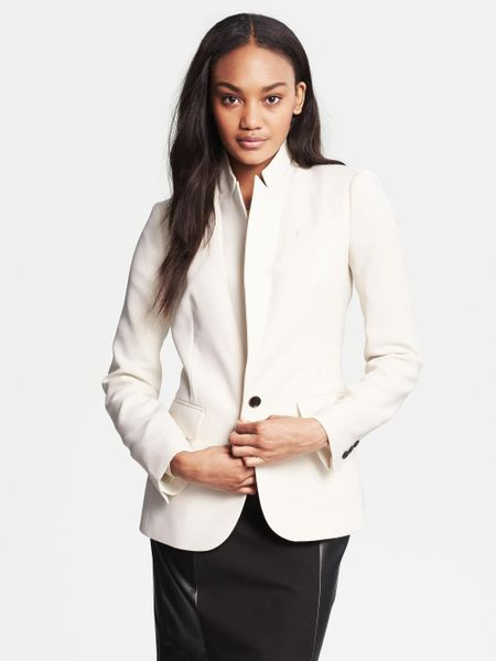Banana Republic Tuxedo Blazer Soft Ivory In White Soft