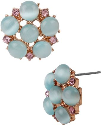 Betsey Johnson Cats Eye Beaded Flower Stud Earrings - Lyst