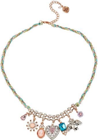 Betsey Johnson Braided Multicharm Necklace - Lyst