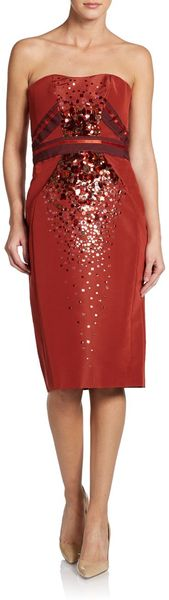 Carolina Herrera Sequined Silk Dress - Lyst