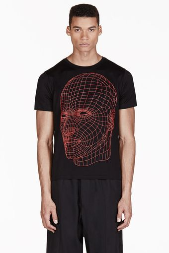 Christopher Kane Black Grid Face Print Tshirt - Lyst