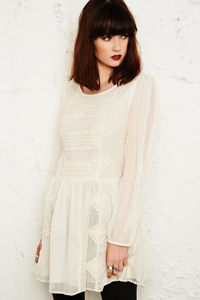 Free People Crinkle Lace Long Sleeve Dress In White Ivory