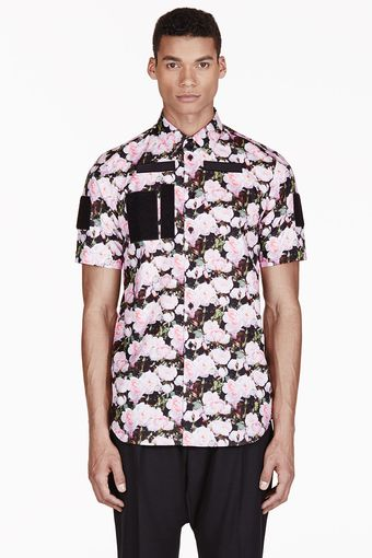 Givenchy Pink Oversized Rose Print Shirt - Lyst