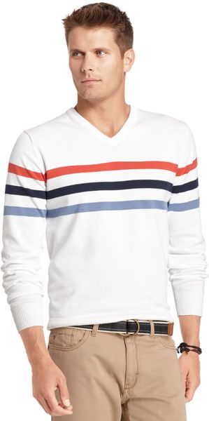 Izod V-Neck Chest Stripe Sweater - Lyst