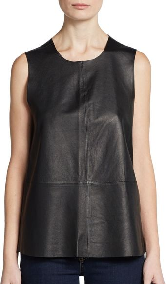 Joie Sandrica Sleeveless Leather Tank Top - Lyst