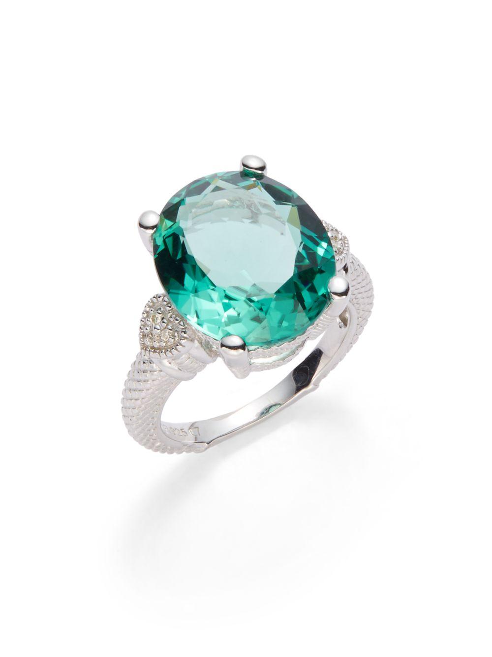 Lyst Judith Ripka Green Oval Stone Amp Diamond Ring In Green