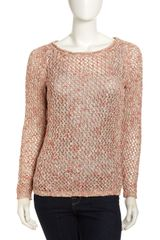 Lafayette 148 New York Open Knit Sweater Coral Multi - Lyst