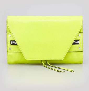 Milly Riley Kidskin Clutch Bag Limeade - Lyst