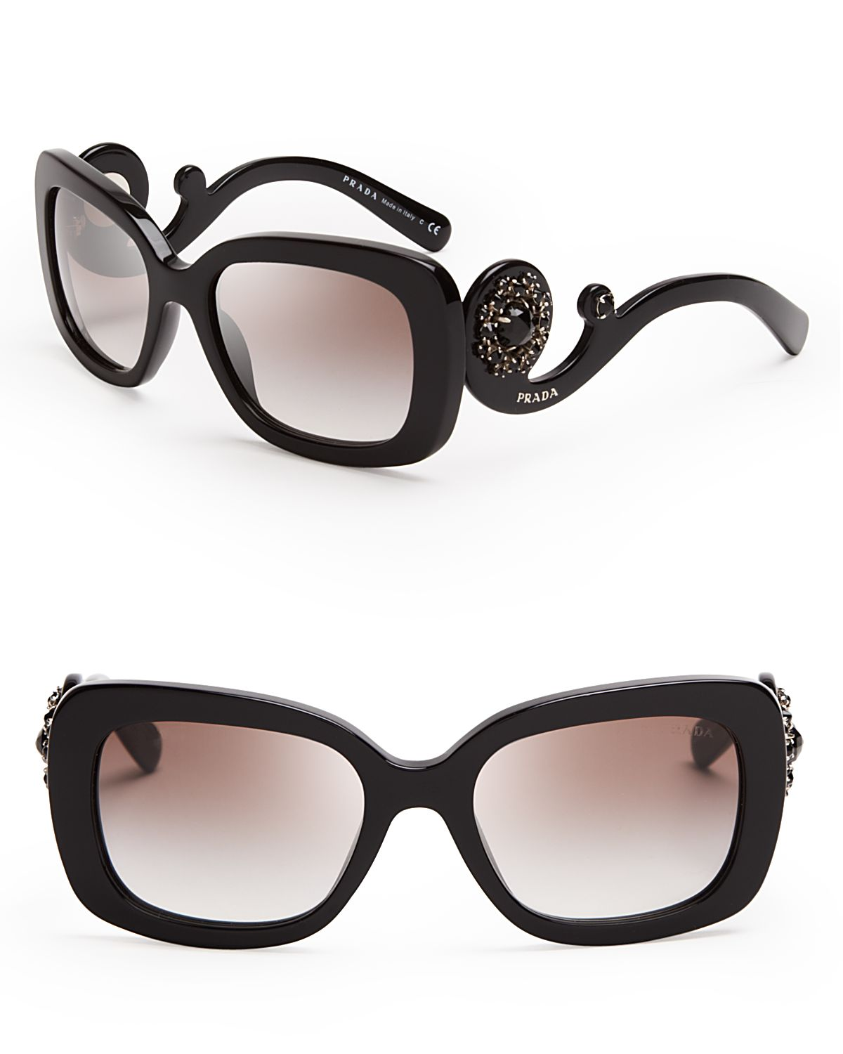 ffeea858f0 ... canada lyst prada absolute baroque crystal square sunglasses in black  4655f e7c09