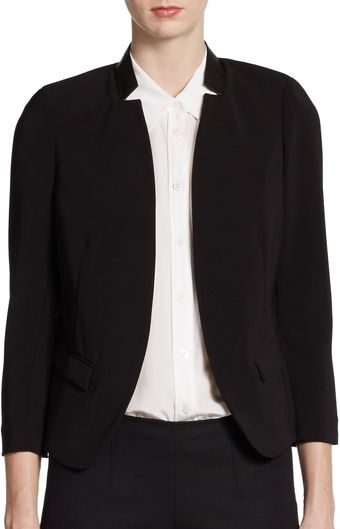 Rebecca Taylor Leather Collar Blazer - Lyst