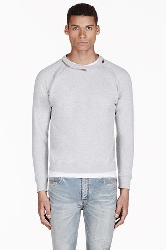 Saint Laurent Heathered Grey Zip Collar Sweater - Lyst