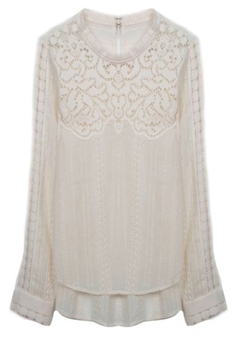 Sea Lace and Eyelet Long Sleeve Cream Blouse - Lyst