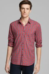 Steven Alan Plaid Reverse Seam Sport Shirt Slim Fit - Lyst