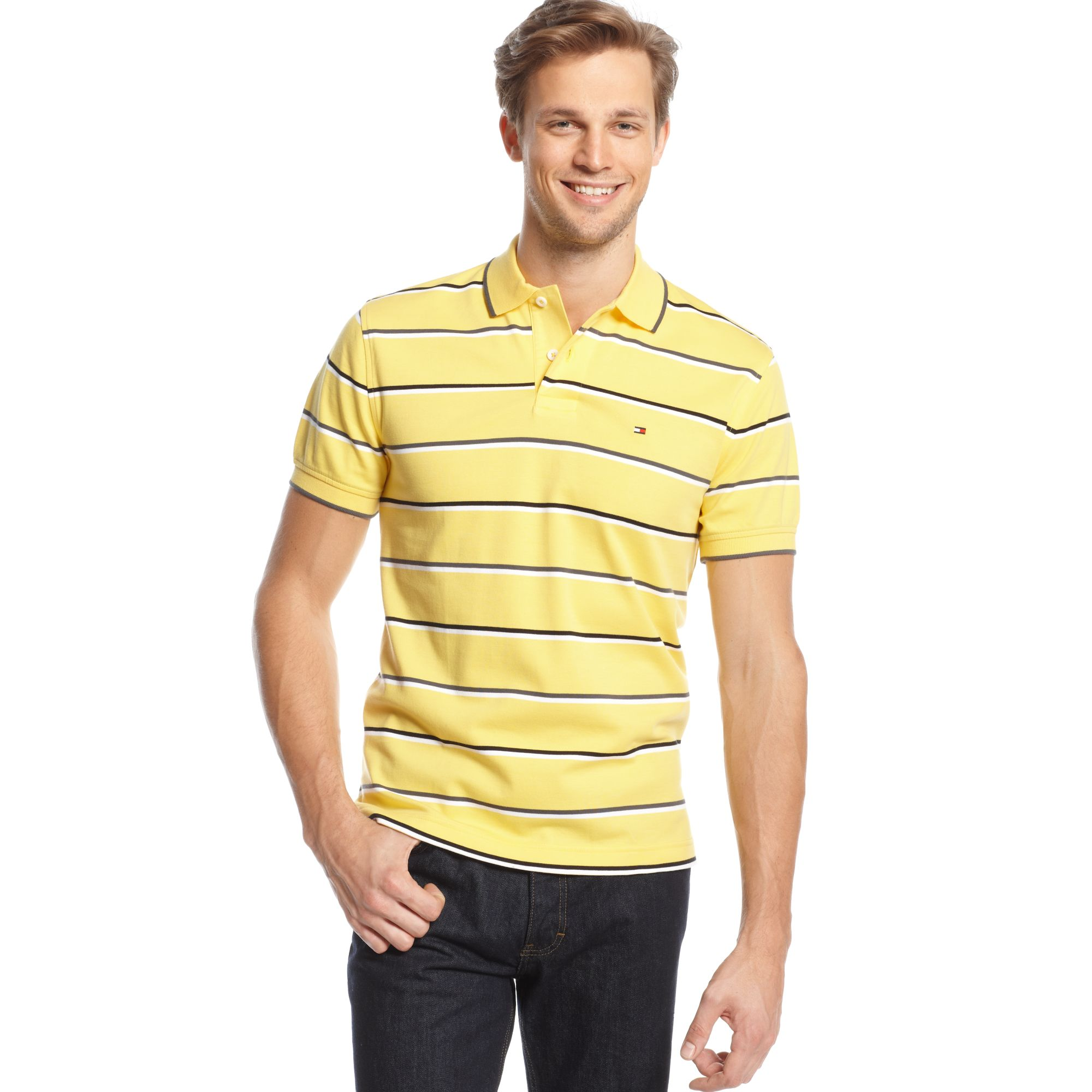 lyst tommy hilfiger burch striped polo shirt in yellow. Black Bedroom Furniture Sets. Home Design Ideas