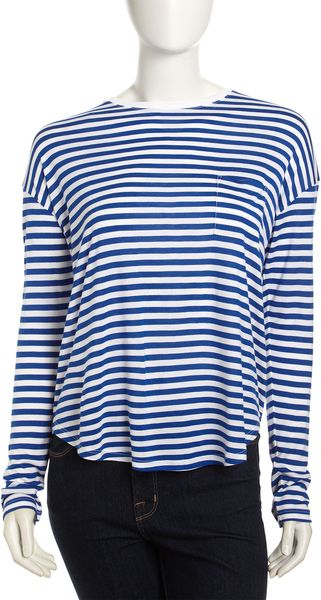 Vince Long Sleeve Pocket Tee White Sailor - Lyst