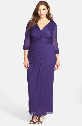 Alex Evenings Surplice Neckline Pleat Waist Long Dress - Lyst