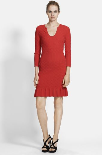 Alexander McQueen Diamond Knit Flared Hem Dress - Lyst
