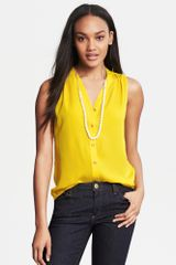 Banana Republic Sleeveless Buttoned Blouse Gold Lily - Lyst