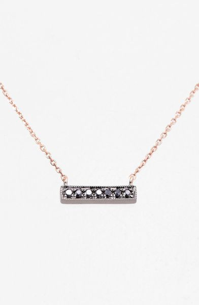 Dana Rebecca Sylvie Rose Diamond Bar Pendant Necklace In