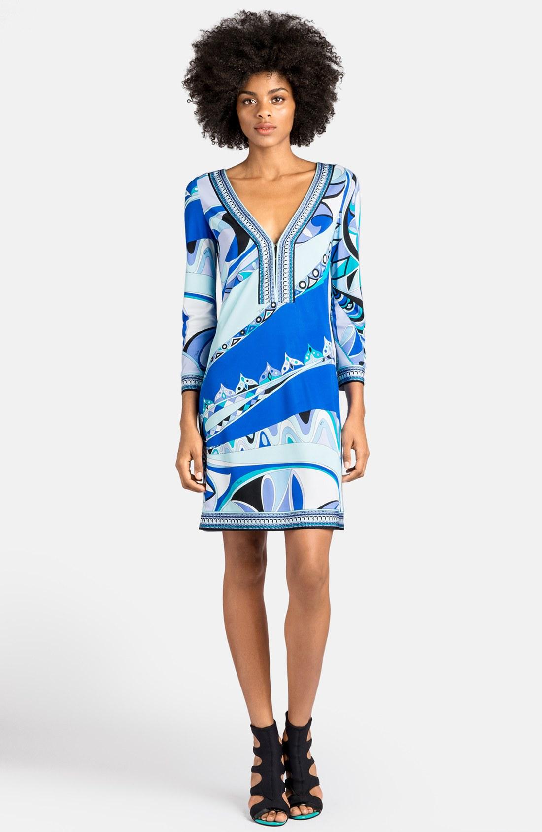 Blue Emilio Pucci V Neck Dress View Fullscreen Emilio Pucci