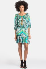 Emilio Pucci Tile Print Silk Peasant Dress - Lyst