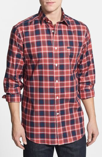 Faconnable Club Fit Plaid Spread Collar Sport Shirt - Lyst