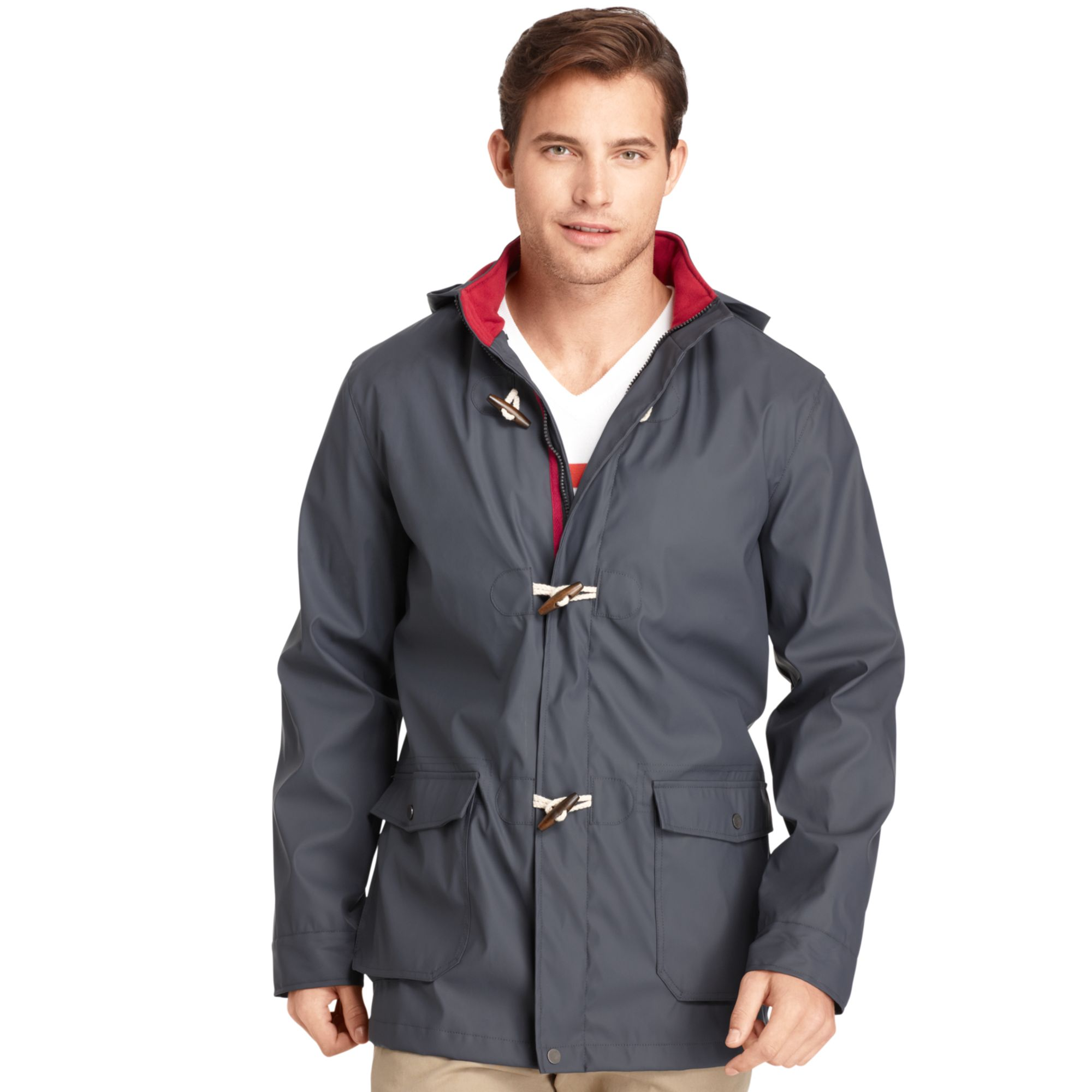 Izod Fisherman Toggle Rain Jacket in Blue for Men | Lyst