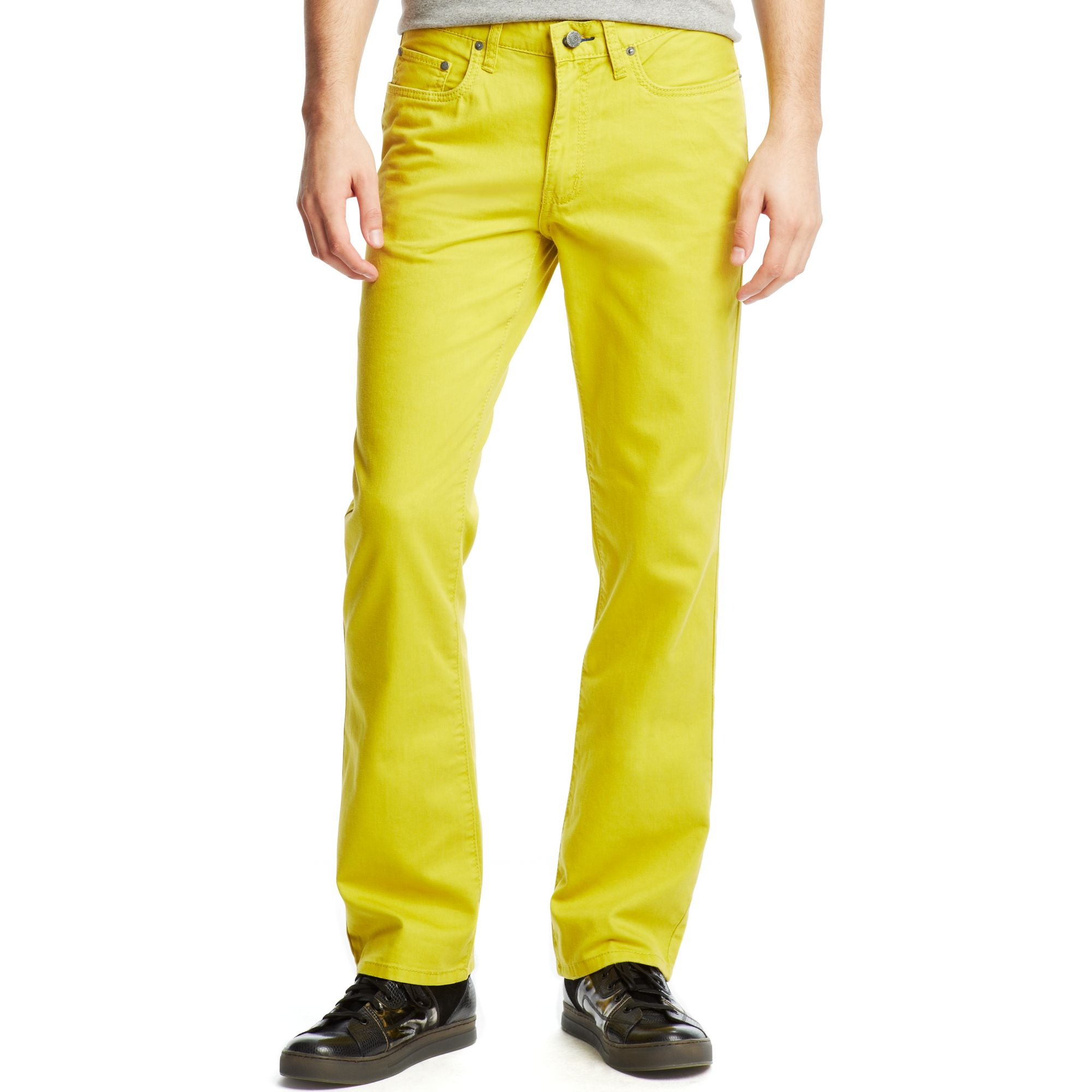 Kenneth cole reaction Five Pocket Khaki Pants in Yellow for Men | Lyst