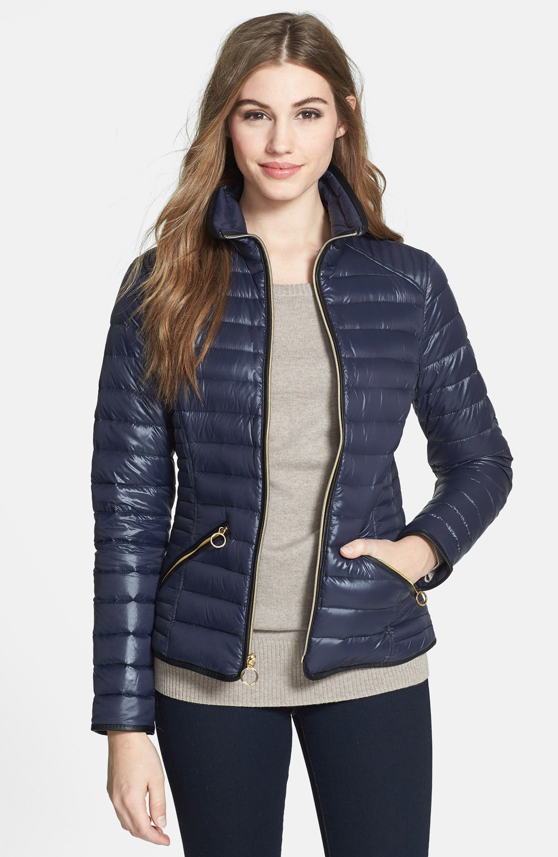michael michael kors faux leather trim down jacket in blue navy lyst. Black Bedroom Furniture Sets. Home Design Ideas