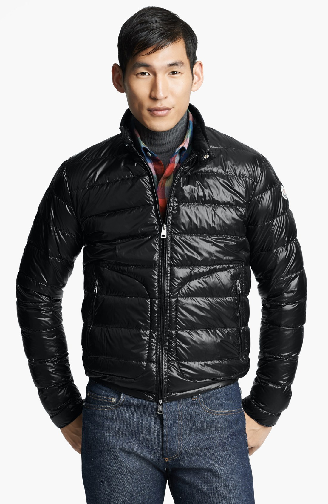 moncler 39 acorus 39 down moto jacket in black for men lyst. Black Bedroom Furniture Sets. Home Design Ideas