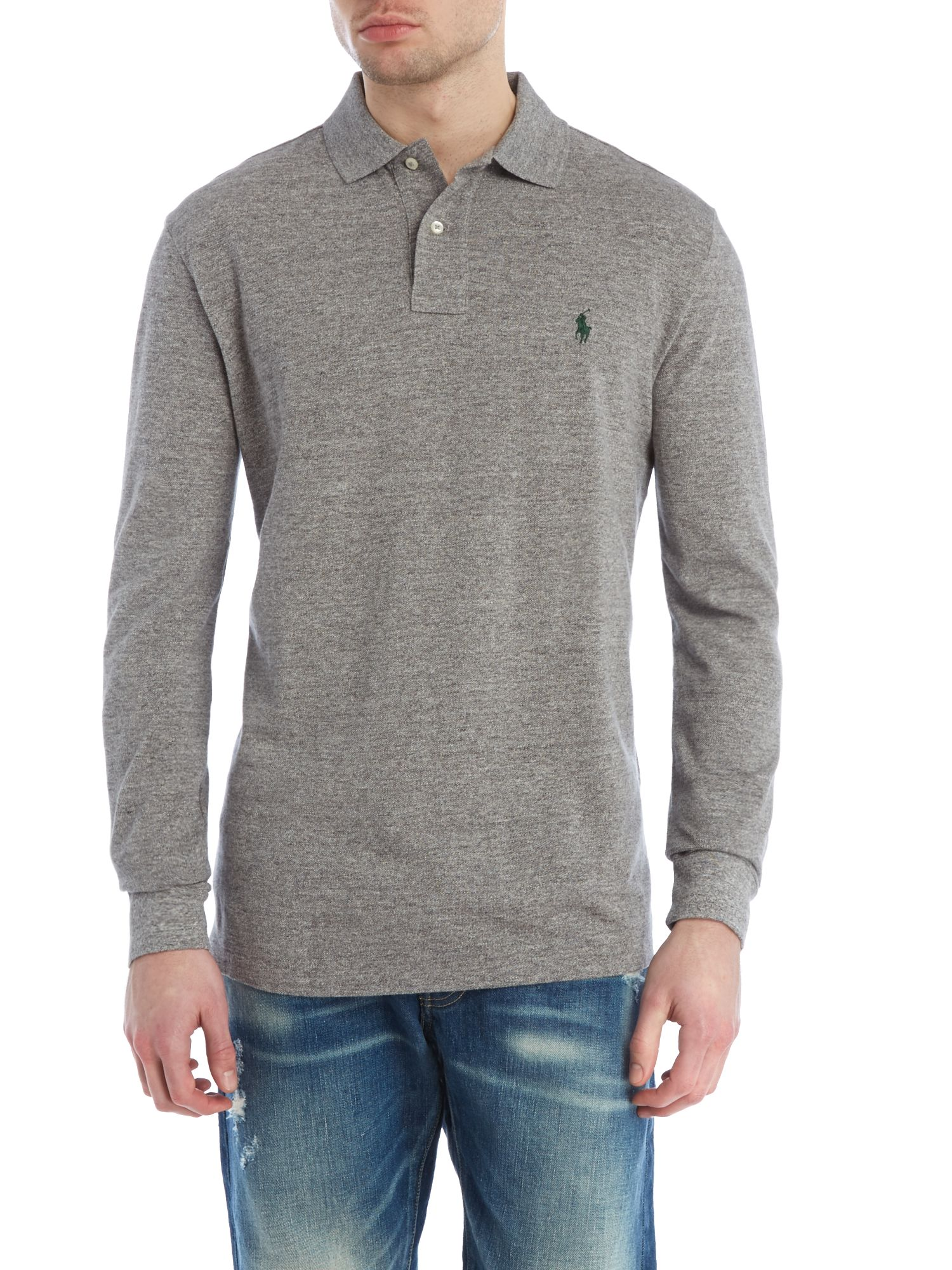 Lyst polo ralph lauren long sleeve polo shirt in gray for Grey long sleeve shirts