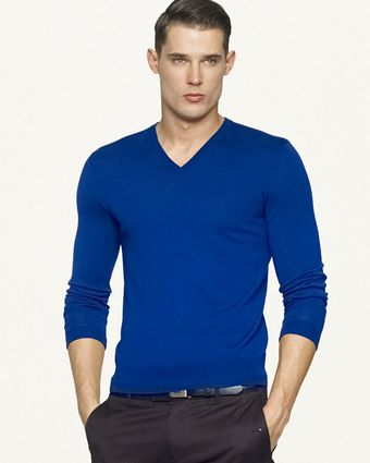 Ralph Lauren Black Label Wool Cashmere V-neck Sweater - Lyst