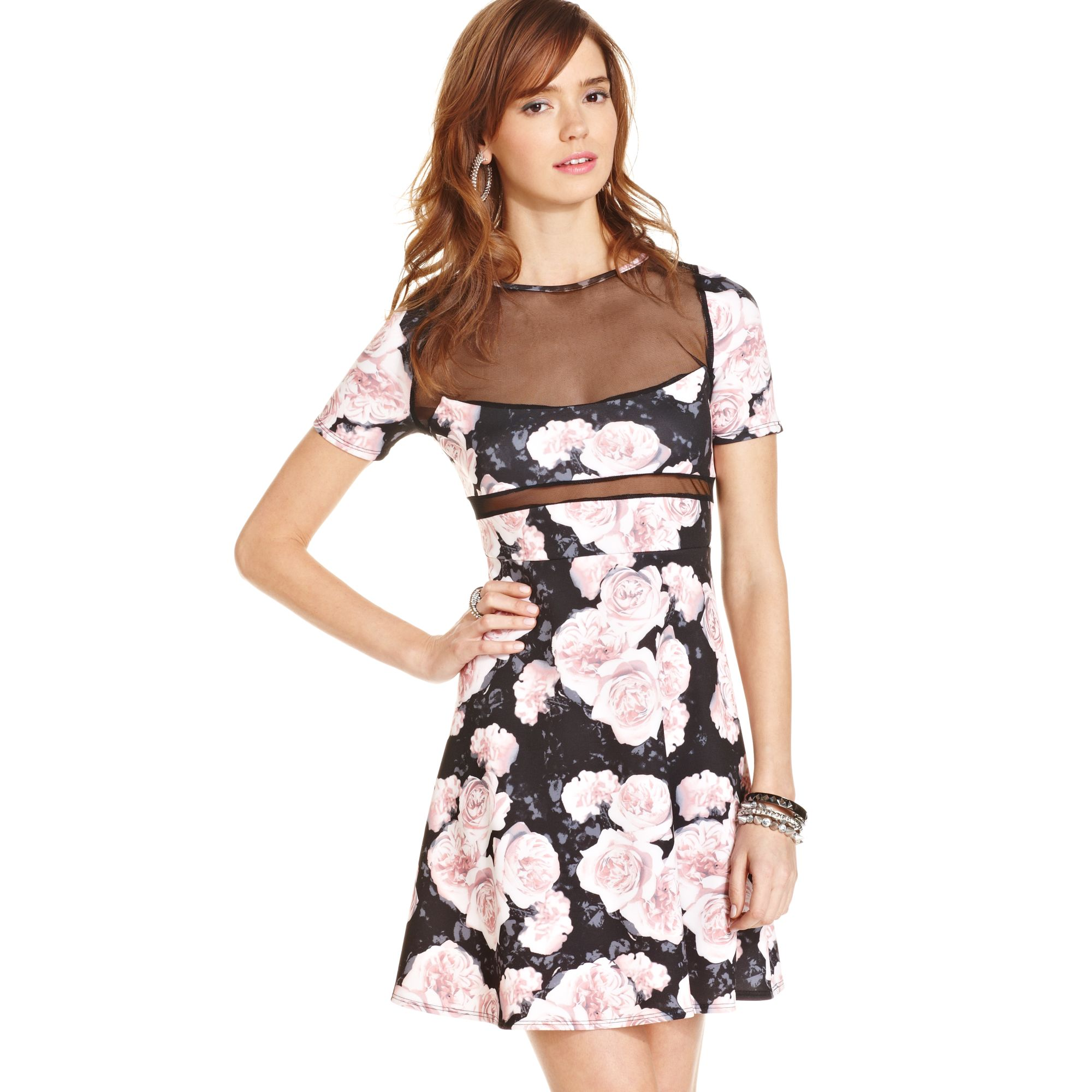 e4655badba3a Lyst - Macy s Floral Print Illusion Skater Dress
