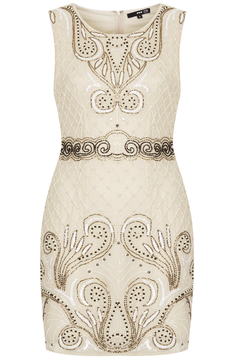 TOPSHOP Embellished Dress in Natural - Lyst be6b3b202