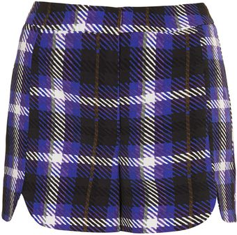 Topshop Check Scallop Shorts - Lyst