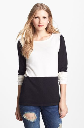 Vince Camuto Checkerboard Cotton Blend Crewneck Sweater - Lyst