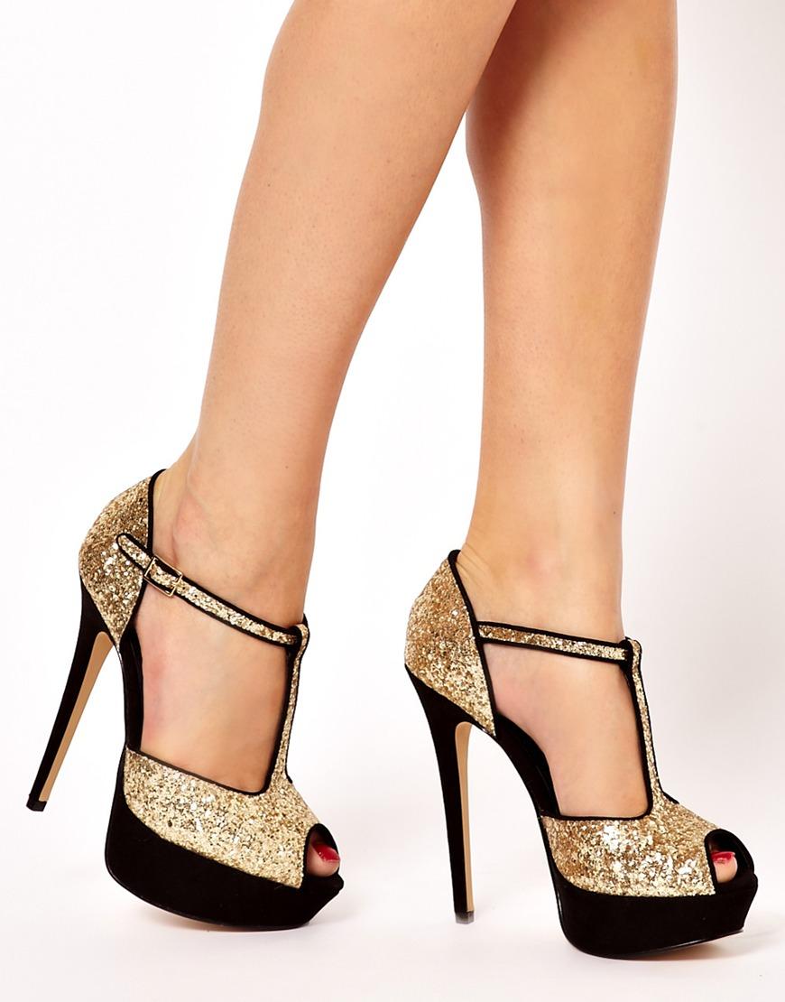 Lyst Aldo Loveless Glitter Tbar Platform Heeled Shoes In