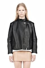 Alexander Wang Cropped Biker Leather Jacket - Lyst