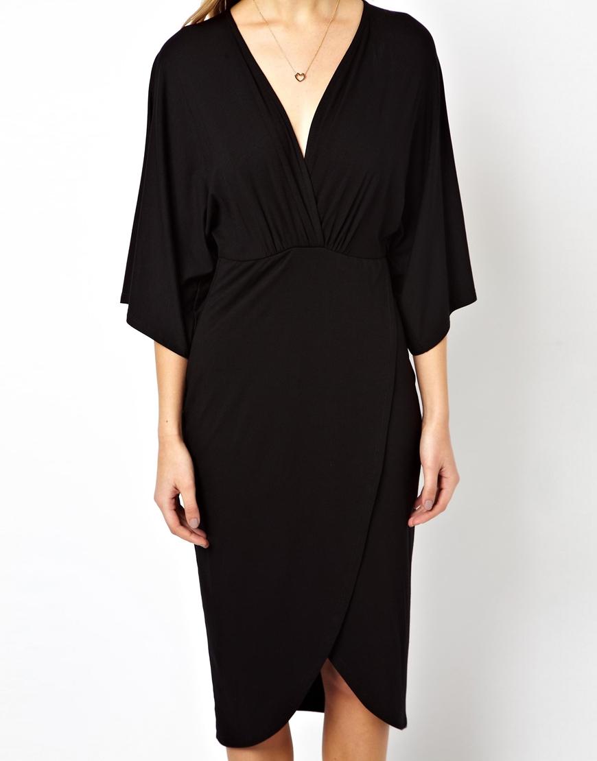 2eb5725a18eb ASOS Midi Dress With Kimono Sleeve in Black - Lyst