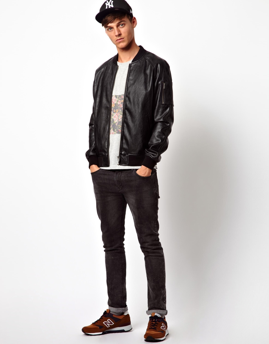 Asos Faux Leather Bomber Jacket in Black for Men | Lyst