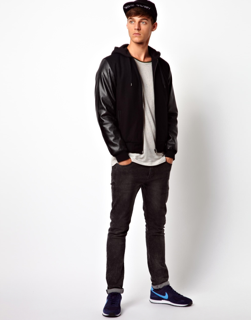 Asos Asos Hooded Bomber Jacket with Faux Leather Sleeves in Black
