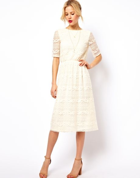 Asos Midi Dress In Lace With Wrap Back In Beige Cream Lyst