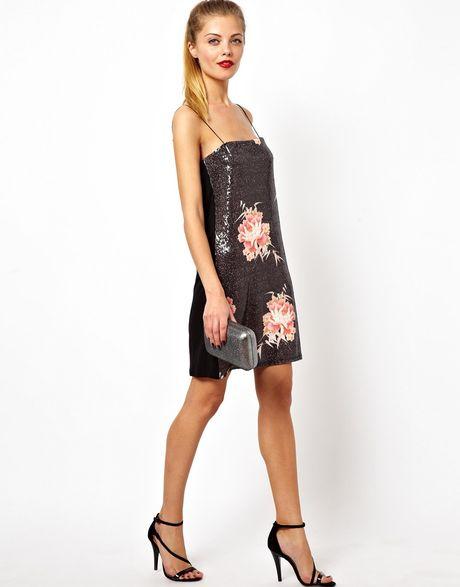 Asos Oriental Sequin Cami Dress In Black Lyst
