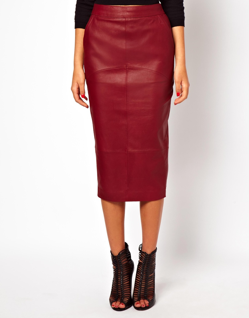 asos pencil skirt in leather in black lyst